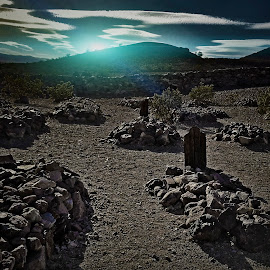 Tombs on a hillside by Apollo Reyes - City,  Street & Park  Cemeteries ( clouds, hills, mountains, sky, tombs, sunset, sunrise, sun, dessert,  )