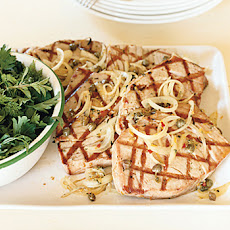 Caper-Rosemary Tuna with Herb Salad