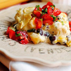 Green Chili Chicken Enchilada Casserole with Quick Pico de Gallo