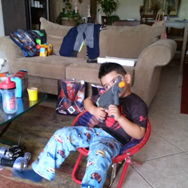 My son enyoing his birthday presents by Lina M Varela - Babies & Children Babies