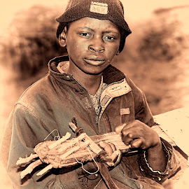 Boy with guitar by Ferdinand Veer - People Musicians & Entertainers ( guitar, lesotho, people, portrait, ferdinand veer )