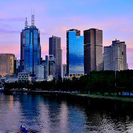 Melbourne Skyline by Donald Cain - City,  Street & Park  Skylines