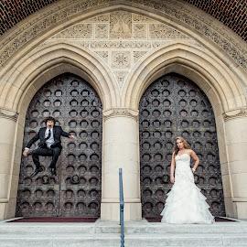 Jump by Jeremy McKnight - Wedding Bride & Groom ( jumping, church, wedding, happy, couple, bride, groom )