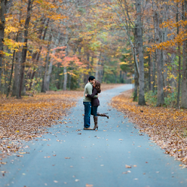 Romantic by Eladio Gomes - People Couples ( love, inspiration, season, autumn, dream, fall, trees, couple, road )