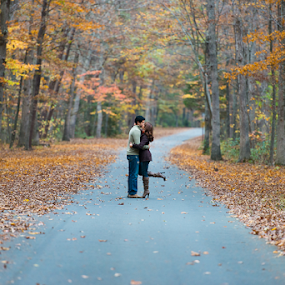 Romantic by Eladio Gomes - People Couples ( love, inspiration, season, autumn, dream, fall, trees, couple, road,  )