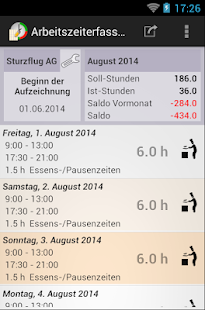 Arbeitszeiterfassung screenshot for Android