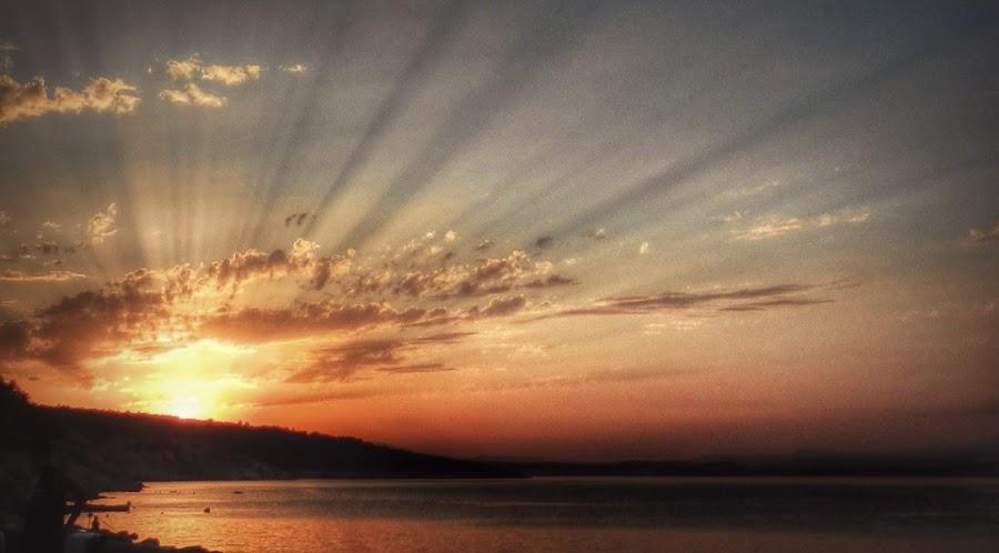 Bright Sunset on the Sea by Nat Bolfan-Stosic - Landscapes Sunsets & Sunrises ( adriatic, sky, bright, sunset, sea )
