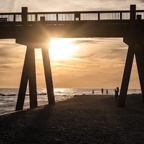 Sunset Limbo by Jon Cody - Landscapes Beaches ( water, pensacola beach, sunset, pier, beach, landscape )