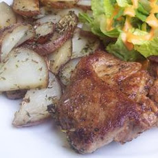 Spicy Pork Chops with Herbed Roasted New Potatoes