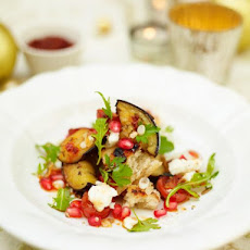 Warm Aubergine, Pomegranate & Harissa Salad