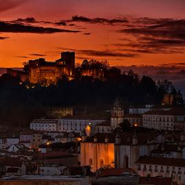 The Fortress by Paulo Penicheiro - City,  Street & Park  Vistas ( canon, sunset, leiria, low light, castle, penicheiro, historical, portugal, paulo )