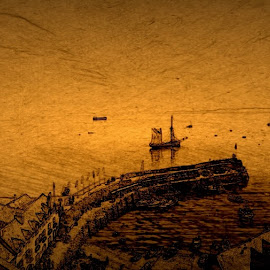 Clovelly old style by Liam Payne - Digital Art Places ( edited, old, vintage, waterscape, sea, ships )