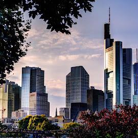 Frankfurt Skyline by Pavle Peric - City,  Street & Park  Skylines ( frankfurt am main, helaba, skyline, ezb, hdr, architecture, city, commerzbank, nikon d5200, germany, bank, hauptwache, zeil, downtown,  )