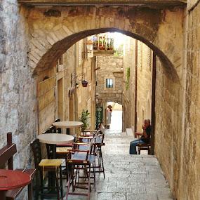 WAITNIG FOR CLIENTS by Wojtylak Maria - City,  Street & Park  Street Scenes ( narrow, street, empty, architecture, town, bar,  )