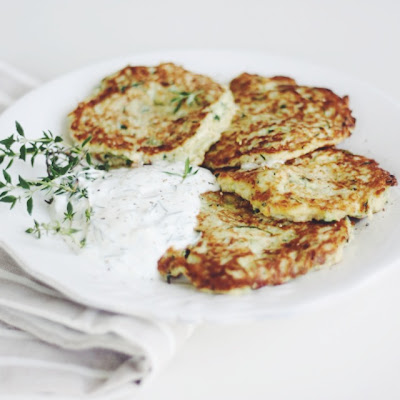 Zucchini Fritters with Greek Yogurt and Dill Sauce