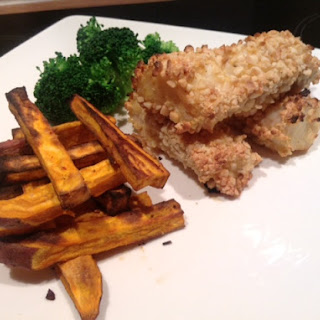 Almond Crusted Fish Fingers with Sweet Potato Chips