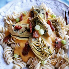 A Creamy Sauced Pasta with Artichokes and Bacon