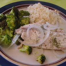 Oven Poached Tilapia and Broccoli