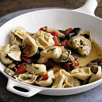 Tortellini with Eggplant and Peppers