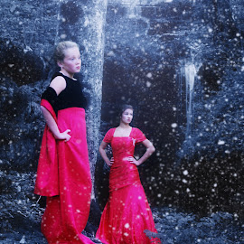 Winter Magic by Beth Schneckenburger - People Family ( water, red, winter, waterfall, snow )