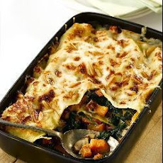 Roast Butternut Squash, Spinach And Mushroom Lasagne