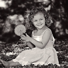 Nature by Ali Reagan - Babies & Children Child Portraits ( little girl, dandelion, black and white, pretty, outside, happynature )