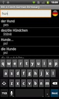 Screenshot of Czech-German offline dict.