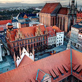 Toruń by Greg Brzezicki - City,  Street & Park  Skylines ( roof, church, council hall, old town, city )
