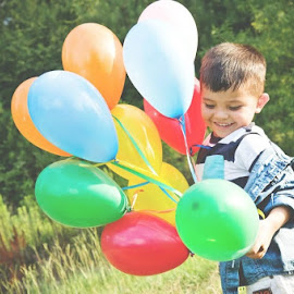 Birthday by Aimee Hunt - Babies & Children Children Candids ( birthday, candid, balloons, boy, portrait )