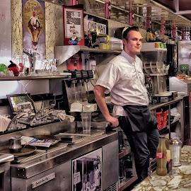 Counter Man.. Diner by Alan Roseman - People Street & Candids ( decor, dinner, joint, 50's, pawtucket, breakfast, plouffe, greasy spoon,  )
