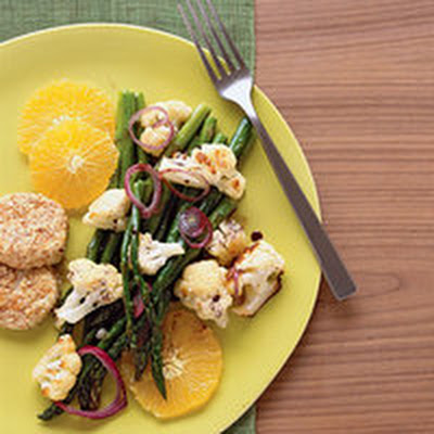 Roasted Veggie Salad with Goat Cheese Cakes