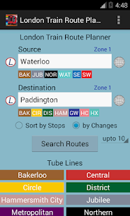 London Train Route Planner - screenshot