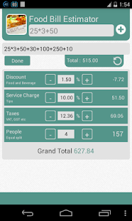 Food Bill Estimator - screenshot