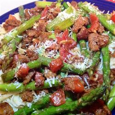 Sausage and Asparagus Spaghettini