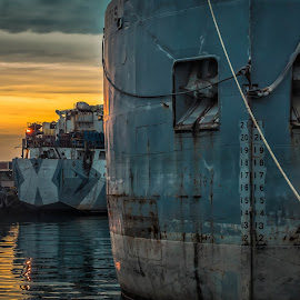 Cherry St Harbour. by Nick Kelleher - Transportation Boats ( clouds, dilapidated, industrial, sunset, toronto, boats, lightroom, light )