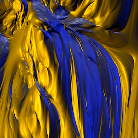 by Loredana  Smith - Illustration Abstract & Patterns ( abstract, blue, color, gold, melt )