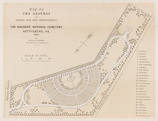 Map of the Grounds and Design for the Improvement of the Soldier's National Cemetery. Gettysburg, PA, 1863.