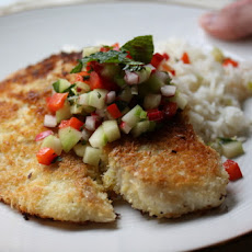 Coconut-Crusted Tilapia with Vegetable-Mint Salsa