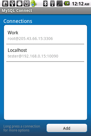 mysql-connect for android screenshot