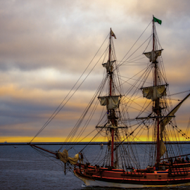 Tall Ships - San Pedro - LA Harbor by Janet Aguila Krause - Transportation Other ( harbor, tall ships - san pedro la harbor, sunset, brakewall, sailboat )
