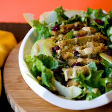 Apple Cranberry Salad with Fried Seitan and Almond Dijon Dressing