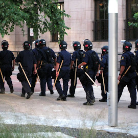 Police on the move. by Dan Dusek - News & Events US Events ( demostration, police, news, event, newsphotography )