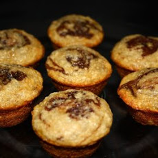 Mini Banana Cupcakes (Muffins) with a Nutella Swirl