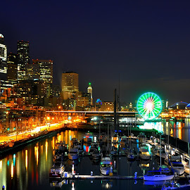 View From Pier 66 #4 by Donna Read - City,  Street & Park  Skylines ( super, washington, bowl, reflection, wheel, seattle, seahawks, reflections, pier, night, 12th man )