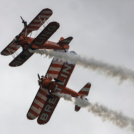 Breitling Wingwalkers by David Shaw - Transportation Airplanes ( shoreham, wing walkers, breitling, planes, air show )