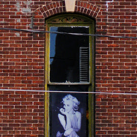 Marilyn in the window. by Dan Dusek - Buildings & Architecture Other Exteriors ( building, window, exterior, bricks, architecture,  )