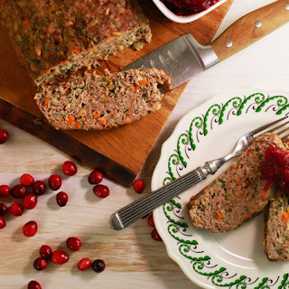 Nutty Turkey Meatloaf with Cracked Cranberry and Orange Sauce