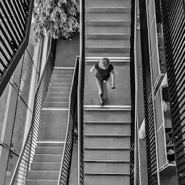 by Jesus Giraldo - Buildings & Architecture Other Interior ( interior, detail, concept, building, stairs, woman, architecture, black&white )