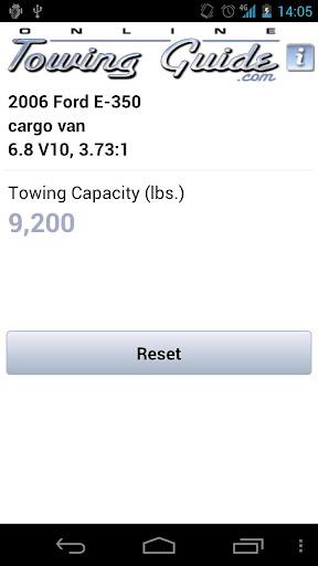 Towing Capacities App - screenshot