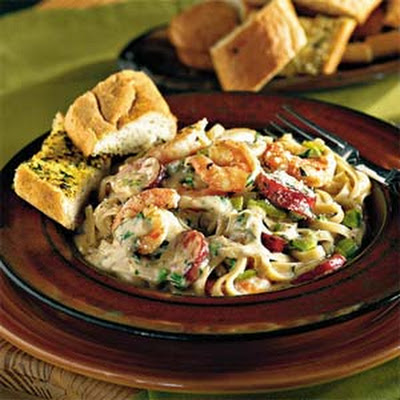 Cajun Shrimp and Andouille Alfredo Sauce Over Pasta